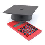3d Graduate mortar board on calculater Royalty Free Stock Photos