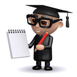 3d Graduate with notepad and pencil Stock Image