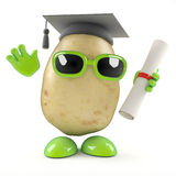 3d Graduate potato. 3d render of a potato graduating from college stock illustration