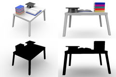 3d  graduation cap on book table concept collections with alpha and shadow channel Stock Photos