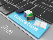 3d graduation cap, books and blackboard on computer keyboard. 3d renderer illustration. Graduation cap, books and blackboard on Computer keyboard. Education Royalty Free Stock Image