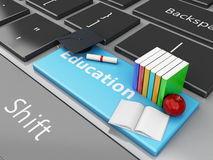 3d graduation cap, books on computer keyboard. 3d renderer illustration. Graduation cap and books with and apple on Computer keyboard. Education concept Stock Image