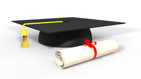 3d graduation cap and degree Stock Photos