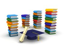 3D Graduation Cap, Diploma, and Books. A graduation cap, a diploma, and many stacks of colorful books Royalty Free Stock Photography