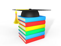 3d graduation hat and books Royalty Free Stock Photo