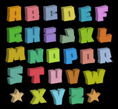 3D graffiti blocky color fonts alphabet over black Royalty Free Stock Image