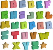 3D graffiti blocky color fonts alphabet over white Stock Images