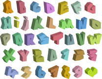 3D graffiti color fonts alphabet and number over white Royalty Free Stock Photos