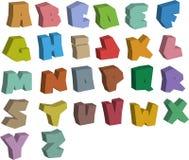 3D graffiti color fonts alphabet over white Stock Photo