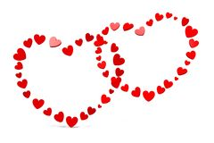 3D grafiek, de Dag van Valentine, 14 Februari, harten, Gelukkige Valentijnskaarten! … Stock Fotografie