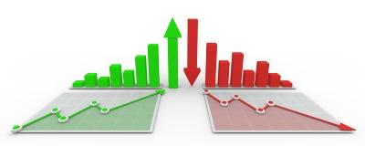 3D grafiek en diagram bedrijfsconcept vector illustratie