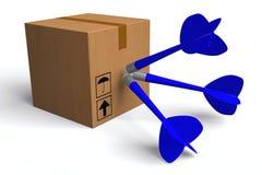 3D grafiek, leveringspakket, snel, op tijd, vervoer, doos, pijltjes Stock Foto's
