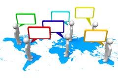 3D grafiek, mededeling, toespraakbellen, Aarde, beeldverhaalkarakters Stock Foto's