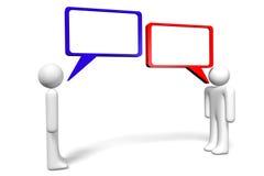 3D grafiek, mededeling, toespraakbellen, beeldverhaalkarakters Stock Fotografie