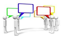 3D grafiek, mededeling, toespraakbellen, beeldverhaalkarakters Stock Foto's