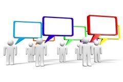 3D grafiek, mededeling, toespraakbellen, beeldverhaalkarakters Stock Foto