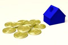 3D grafiek, metaforen, huisvestende kwesties, hypotheek, geld… Stock Foto's