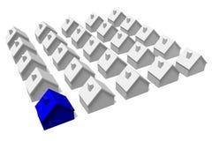 3D grafiek, metaforen, huisvestende kwesties, hypotheek, huizen… Stock Foto's