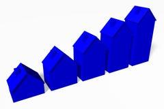 3D grafiek, metaforen, huisvestende kwesties, hypotheek, huizen… Stock Afbeelding