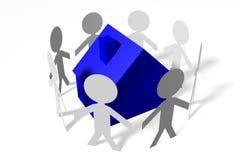 3D grafiek, metaforen, huisvestende kwesties, hypotheek, mensen… Stock Foto