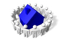 3D grafiek, metaforen, huisvestende kwesties, hypotheek, mensen… Stock Afbeeldingen
