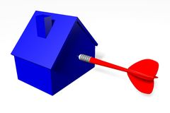 3D grafiek, metaforen, huisvestende kwesties, hypotheek, pijltje, doel… Royalty-vrije Stock Afbeeldingen