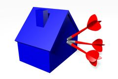 3D grafiek, metaforen, huisvestende kwesties, hypotheek, pijltje, doel… Stock Foto's