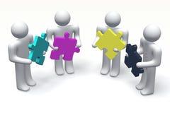 3D grafiek, metaphores, druk, CMYK, menselijke karakters, puzzel Stock Afbeelding
