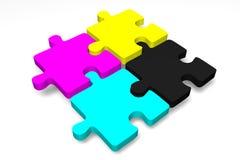 3D grafiek, metaphores, druk, CMYK, puzzel Stock Foto