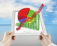 3D grafiek op tablet met handholding Stock Afbeeldingen
