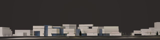 3D grafiek van het stedelijke milieu kwart Stock Afbeelding