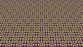 2D grafisch videopatroon dat omhoog overhelt en zich beweegt, samengesteld uit ontwerpen en vormen met multicolored texturen, in  vector illustratie