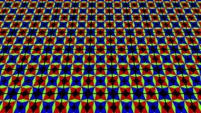 2D grafisch videopatroon dat omhoog overhelt en zich beweegt, samengesteld uit ontwerpen en vormen met multicolored texturen, in  royalty-vrije illustratie