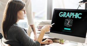 3D Grafische Futuristische Concept van de Creativiteitillusie Stock Afbeelding