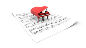 3D grand piano model on a partition sheet. 3D opened grand piano model on a partition sheet Royalty Free Stock Image