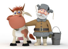 The 3D grandfather with a cow. Royalty Free Stock Photo