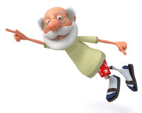 3d grandfather pensioner. The elderly person in pants and an undershirt poses Royalty Free Stock Photography