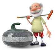 3d grandfather plays curling Royalty Free Stock Photography