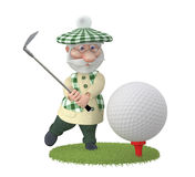 The 3D grandfather plays golf on a lawn Royalty Free Stock Images