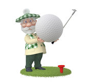 The 3D grandfather plays golf on a lawn Royalty Free Stock Photo