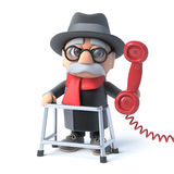 3d Grandpa answers the phone Royalty Free Stock Photos
