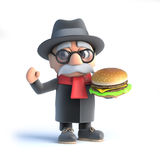 3d Grandpa has a burger Stock Image
