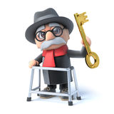 3d Grandpa has a golden key Stock Photos