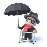 3d Grandpa has an umbrella Royalty Free Stock Image