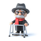 3d Grandpa with his walking frame Stock Photo