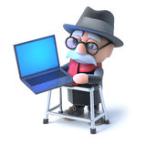 3d Grandpa with his walking frame works online on laptop Royalty Free Stock Image