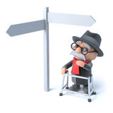 3d Grandpa looks at a road sign Stock Photo