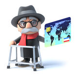 3d Grandpa pays with a debit card Royalty Free Stock Photography