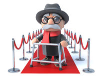 3d Grandpa on the red carpet Stock Photo