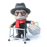 3d Grandpa with shopping basket Royalty Free Stock Photography
